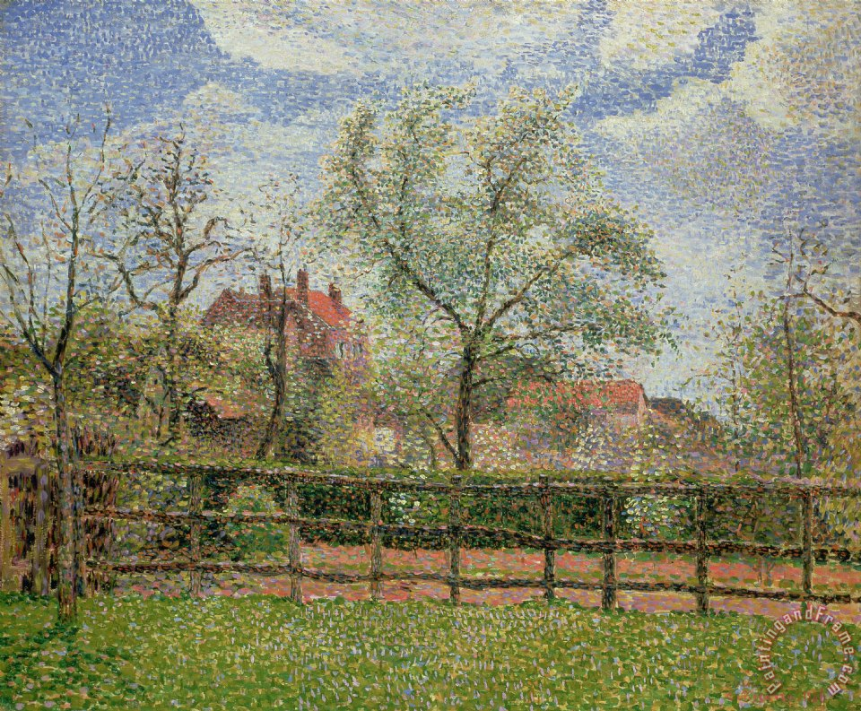 Pear Trees and Flowers at Eragny painting - Camille Pissarro Pear Trees and Flowers at Eragny Art Print