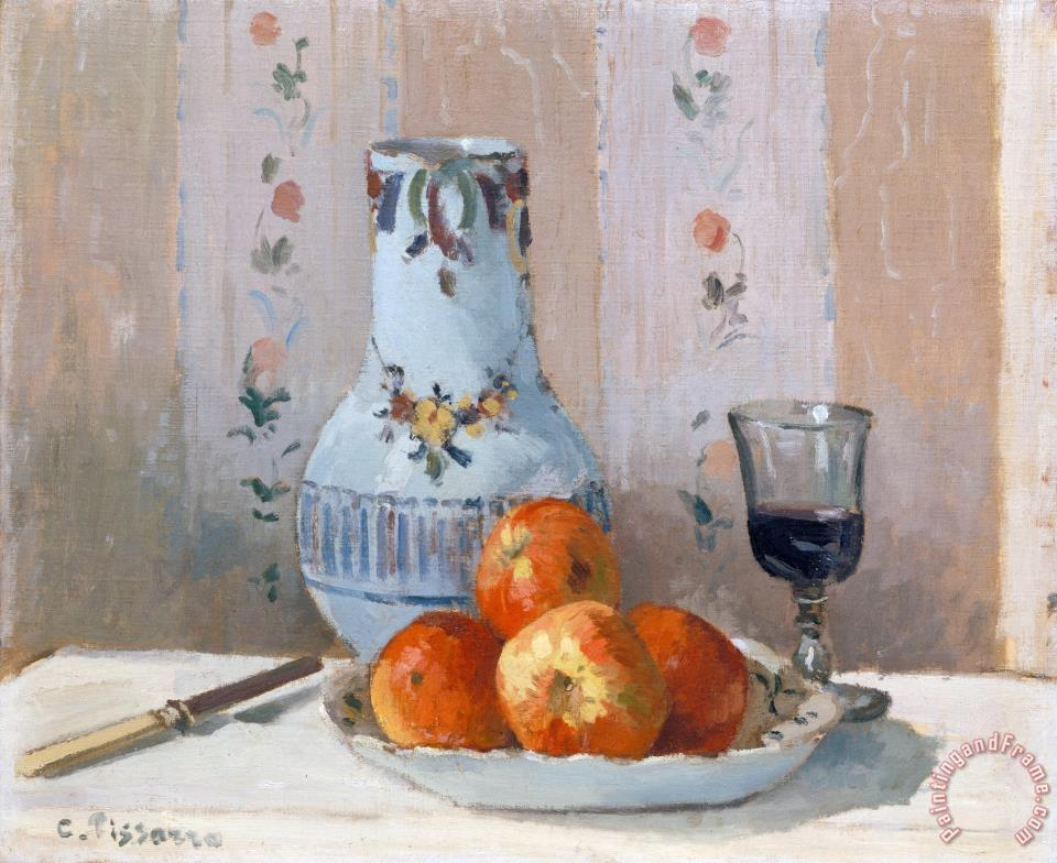 Still Life with Apples And Pitcher painting - Camille Pissarro Still Life with Apples And Pitcher Art Print