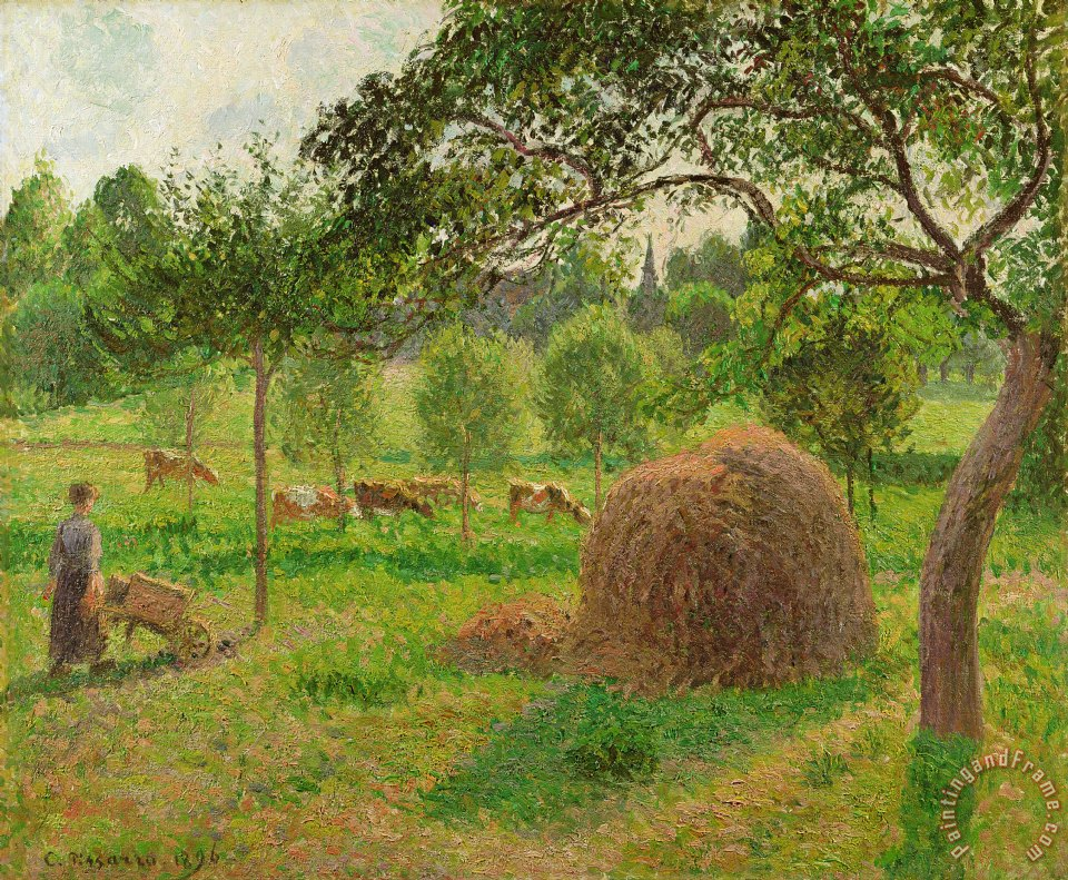 Camille Pissarro Sunset At Eragny Painting Sunset At Eragny Print For Sale