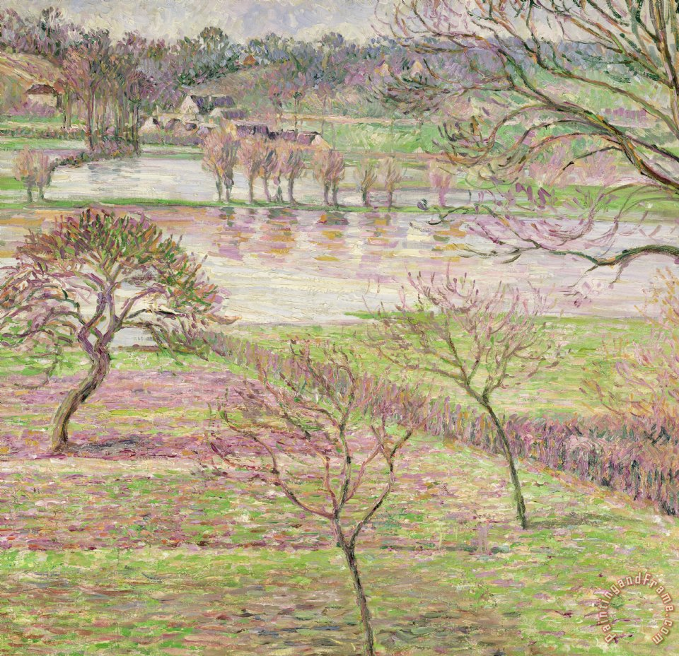 The Flood At Eragny painting - Camille Pissarro The Flood At Eragny Art Print