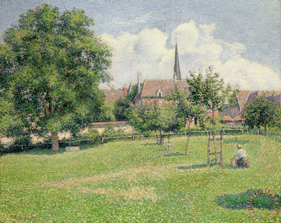 Camille Pissarro The House Of The Deaf Woman And The Belfry At Eragny Painting The House Of