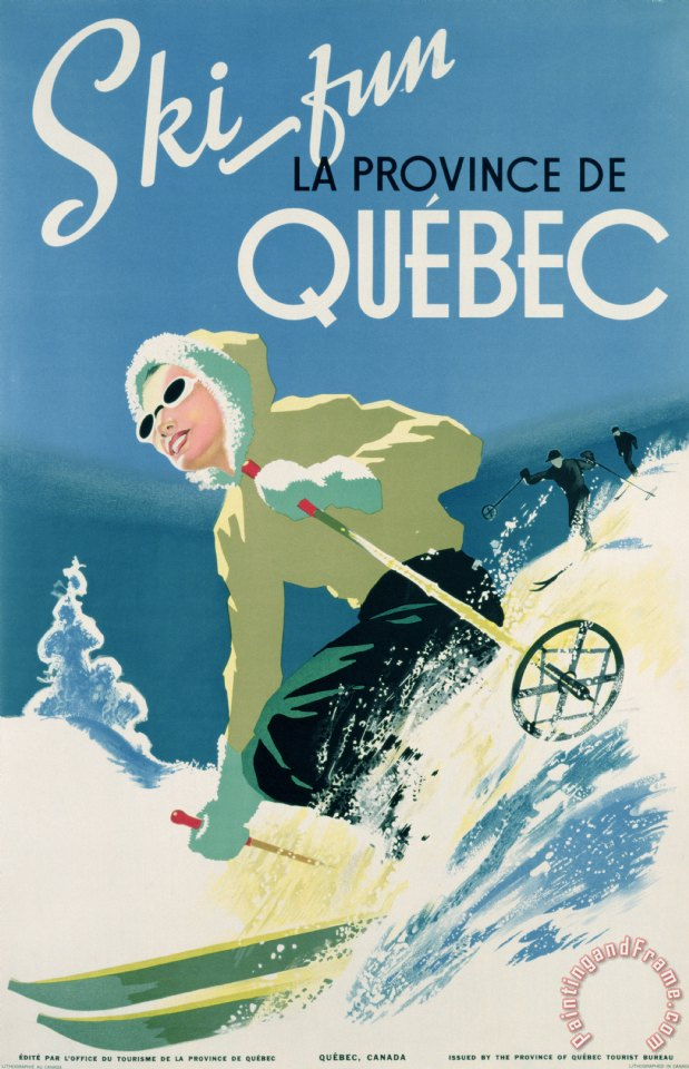 Poster Advertising Skiing Holidays In The Province Of Quebec painting - Canadian School Poster Advertising Skiing Holidays In The Province Of Quebec Art Print