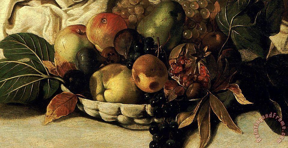 Caravaggio Basket Of Fruit Detail Bacchus painting - Basket Of ...