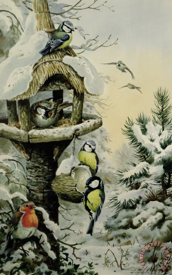 Winter Bird Table with Blue Tits painting - Carl Donner Winter Bird Table with Blue Tits Art Print