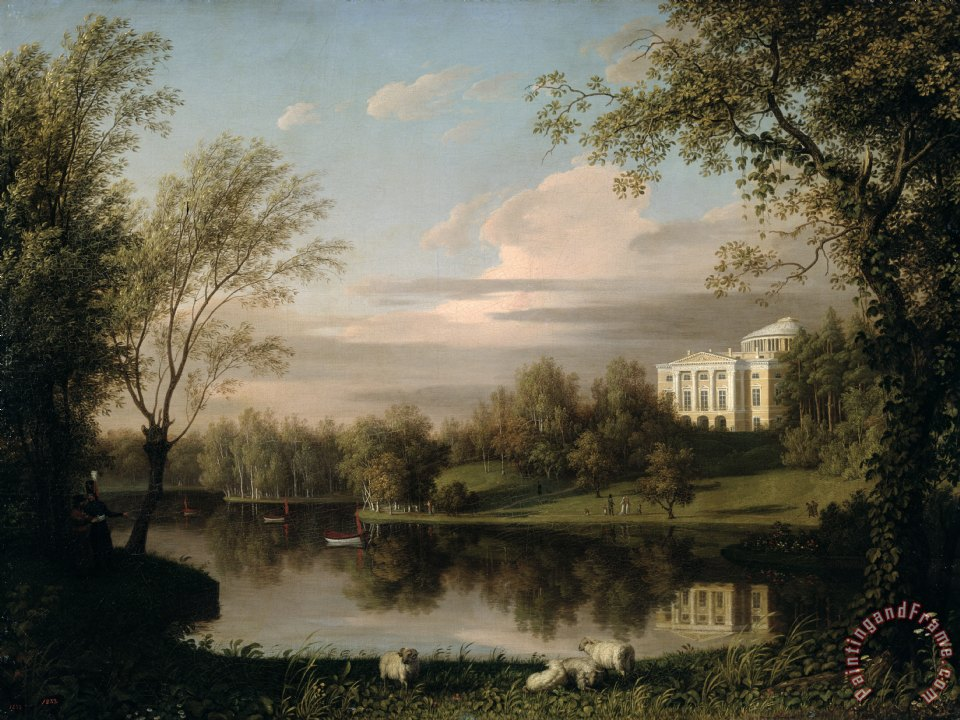 View of the Pavlovsk Palace painting - Carl Ferdinand von Kugelgen View of the Pavlovsk Palace Art Print
