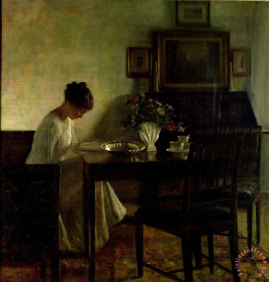 Girl Reading in an Interior painting - Carl Holsoe Girl Reading in an Interior Art Print