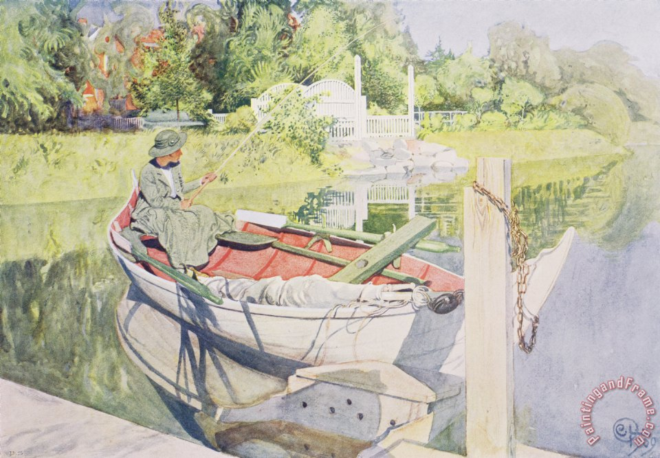 Fishing painting - Carl Larsson Fishing Art Print