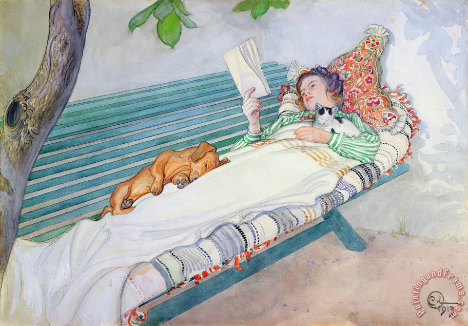 Woman Lying on a Bench painting - Carl Larsson Woman Lying on a Bench Art Print