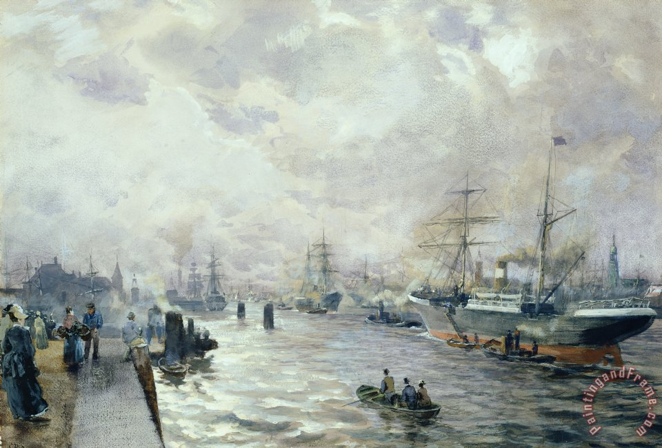 Sailing Ships in the Port of Hamburg painting - Carl Rodeck Sailing Ships in the Port of Hamburg Art Print