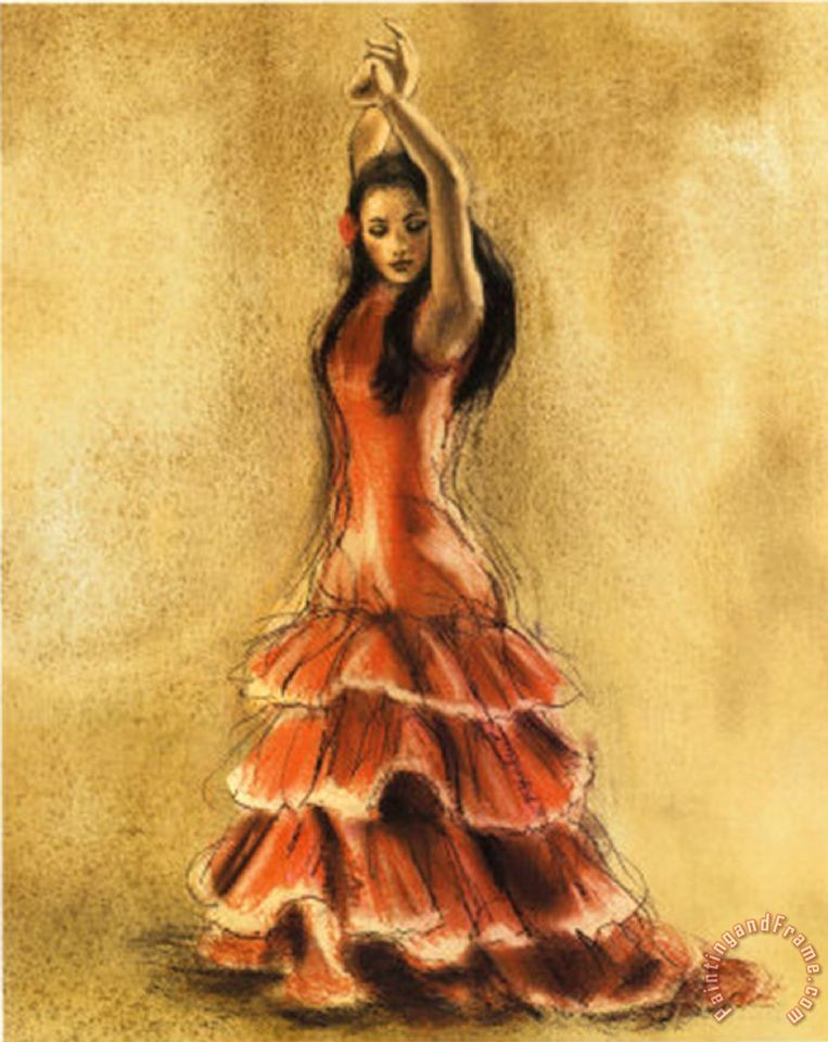 Flamenco Dancer I painting - Caroline Gold Flamenco Dancer I Art Print