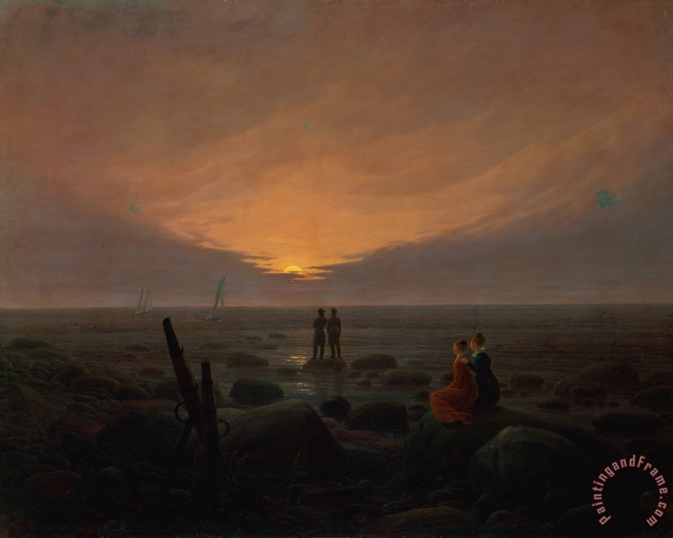 Moon Rising Over the Sea painting - Caspar David Friedrich Moon Rising Over the Sea Art Print