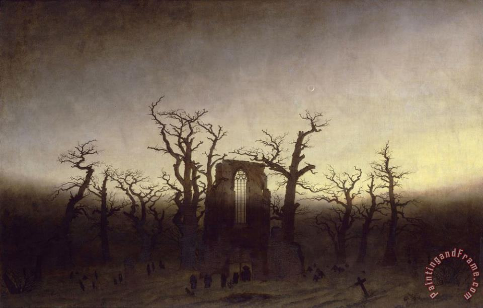 Abbey In An Oak Forest painting - Caspar David Friedrich Abbey In An Oak Forest Art Print