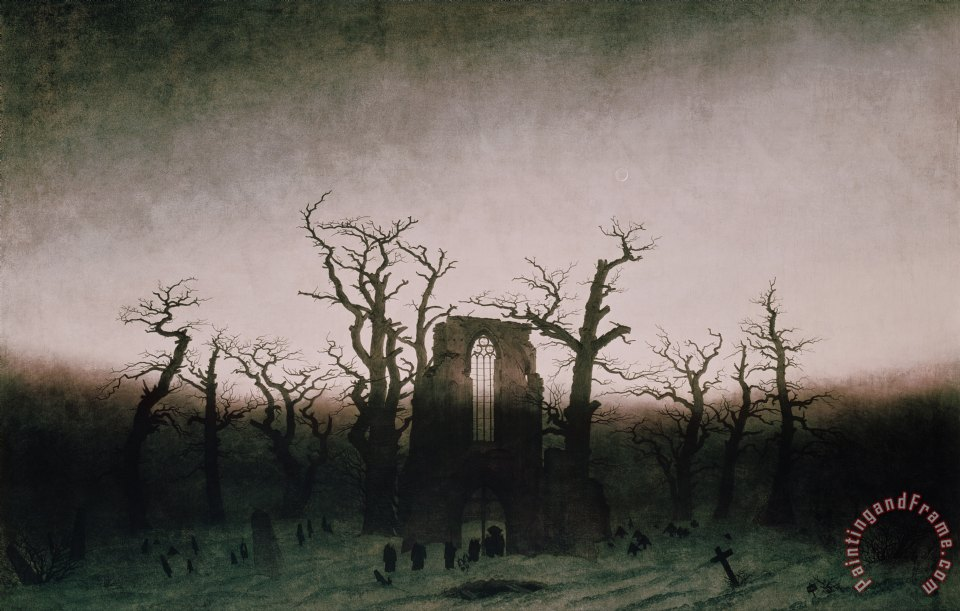 Abbey in the Oakwood painting - Caspar David Friedrich Abbey in the Oakwood Art Print