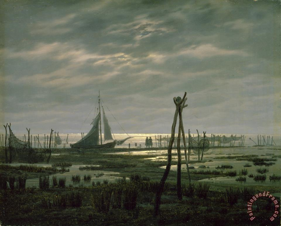 Marshy Beach (oil on Canvas) painting - Caspar David Friedrich Marshy Beach (oil on Canvas) Art Print