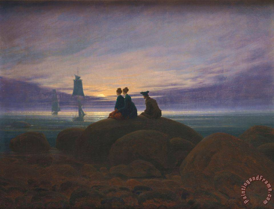 Caspar David Friedrich Moonrise by The Sea Art Print