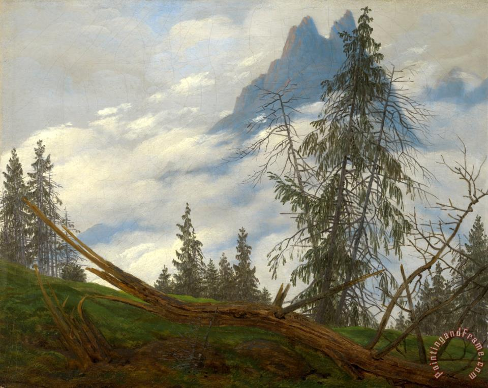 Caspar David Friedrich Mountain Peak with Drifting Clouds Art Print