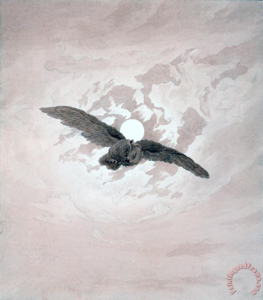Owl Flying Against a Moonlit Sky painting - Caspar David Friedrich Owl Flying Against a Moonlit Sky Art Print