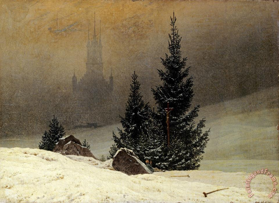 Winter Landscape with a Church painting - Caspar David Friedrich Winter Landscape with a Church Art Print