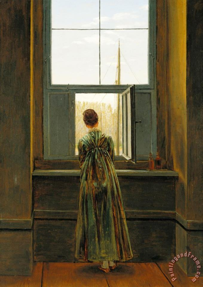 Caspar David Friedrich Woman at a Window Art Print