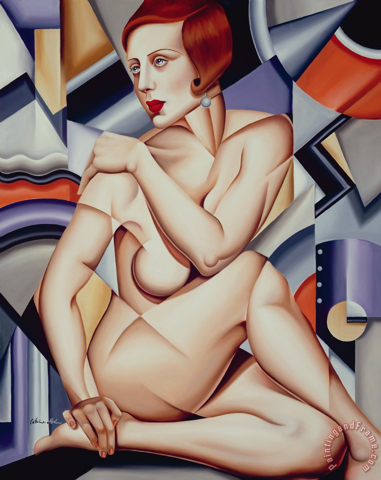 Catherine Abel Cubist Nude Orange and Purple Art Print