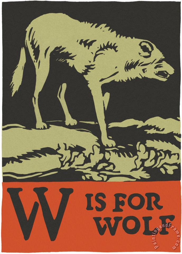 C.B. Falls Alphabet: W Is for Wolf Art Painting
