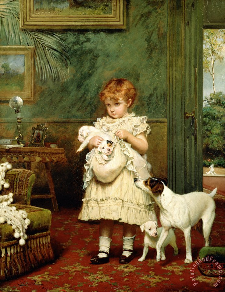 Charles Burton Barber Girl with Dogs Art Painting
