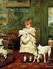 Girl with Dogs by Charles Burton Barber