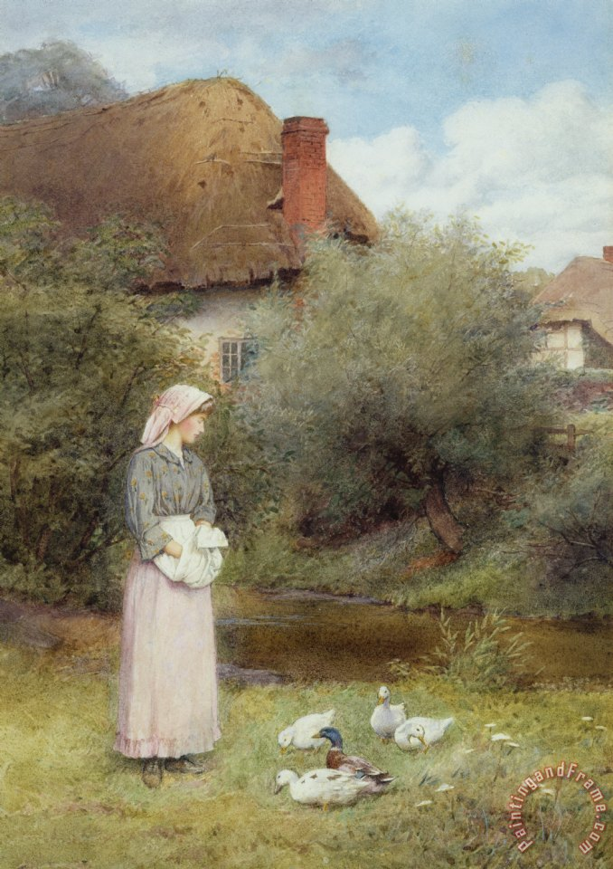 Charles Edward Wilson Feeding The Ducks Painting Feeding