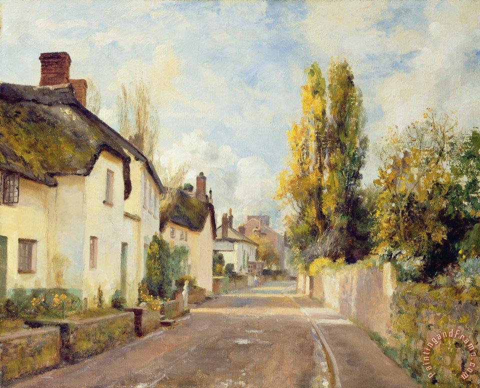 Charles James Fox Village Street Scene Painting Village