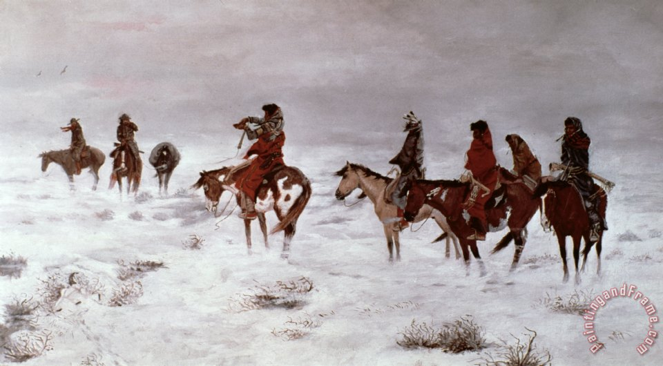 'Lost in a Snow Storm - We Are Friends' painting - Charles Marion Russell 'Lost in a Snow Storm - We Are Friends' Art Print