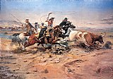 Cowboys roping a steer by Charles Marion Russell