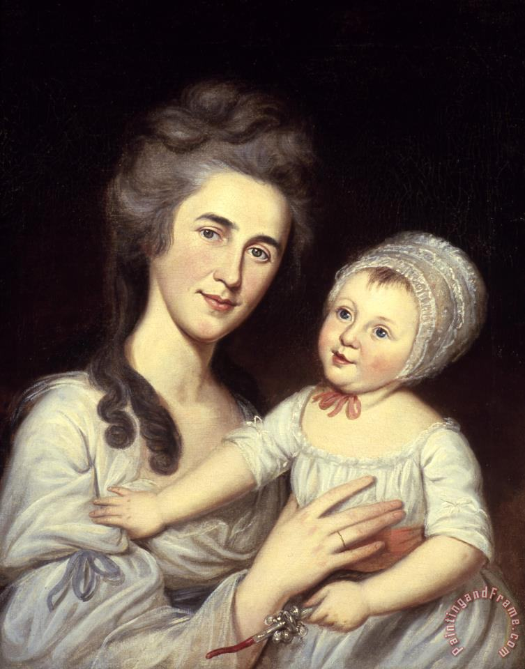 Portrait of Mrs Robert Milligan (sarah Cantwell Jones) And Her Daughter Catherine Mary painting - Charles Willson Peale Portrait of Mrs Robert Milligan (sarah Cantwell Jones) And Her Daughter Catherine Mary Art Print