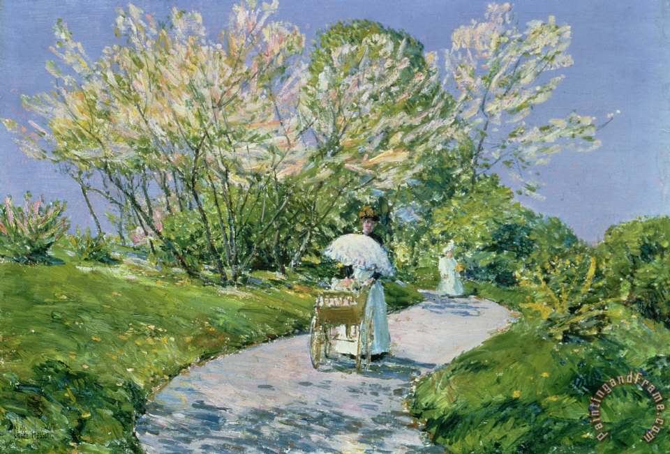 A Walk in the Park painting - Childe Hassam A Walk in the Park Art Print