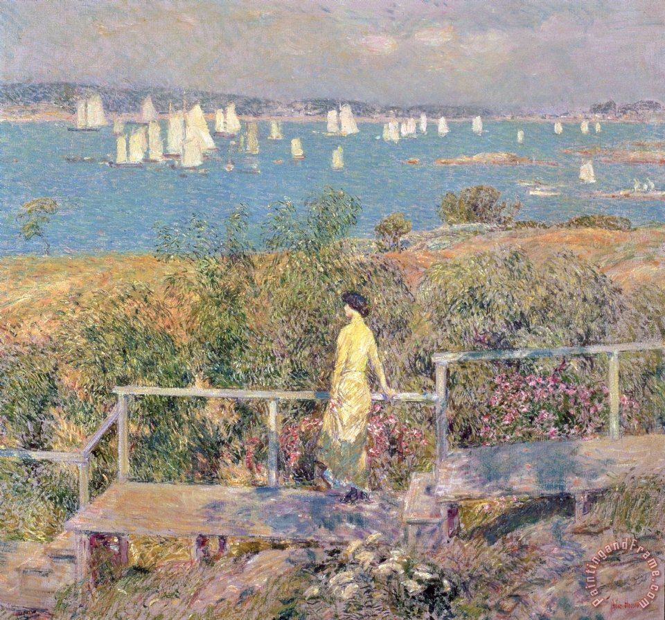 Childe Hassam Yachts in Gloucester Harbor Art Print