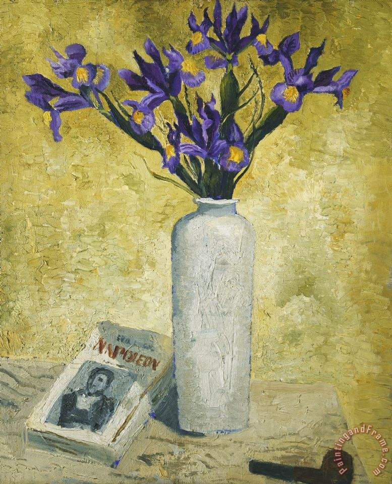 Christopher Wood Irises In A Tall Vase Painting Irises In A Tall