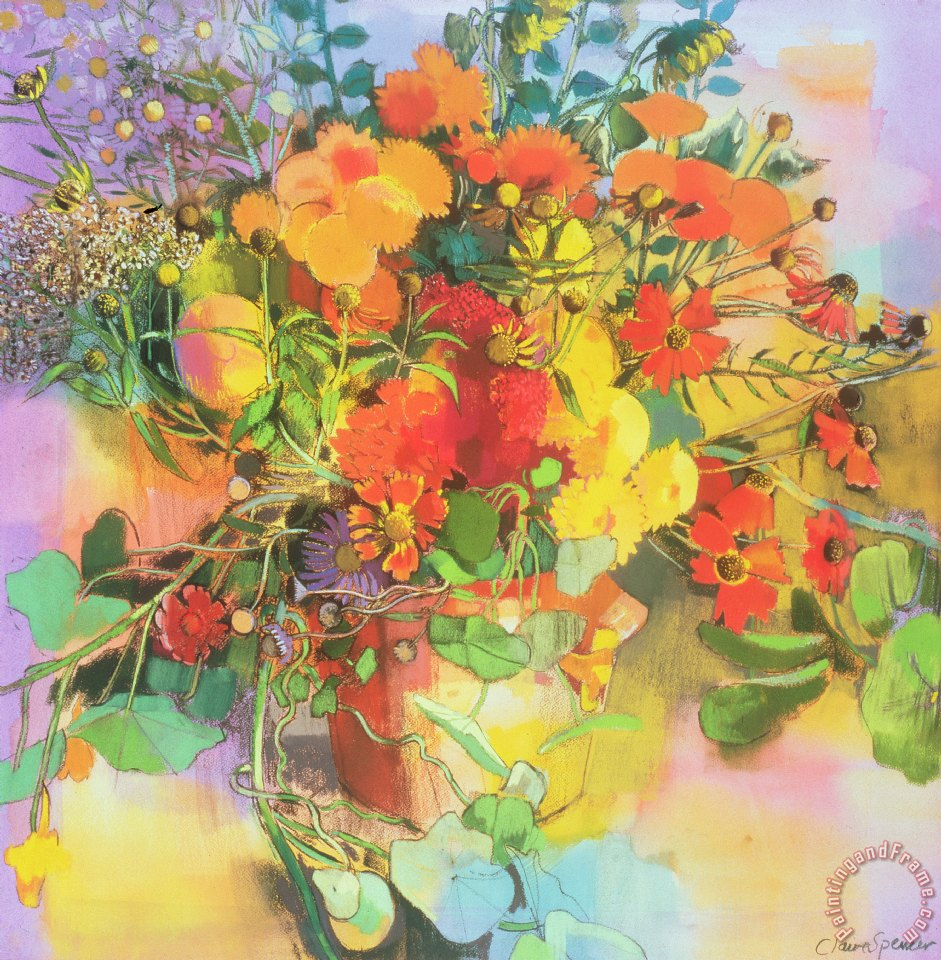 claire spencer autumn flowers painting autumn flowers print for sale