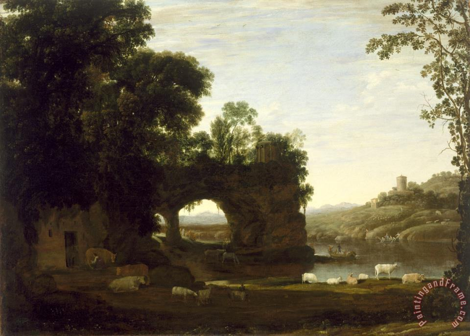 Landscape with a Rock Arch And River painting - Claude Lorrain Landscape with a Rock Arch And River Art Print