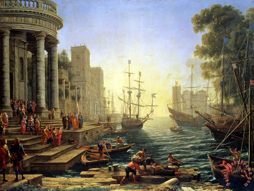 Seaport with the Embarkation of Saint Ursula painting - Claude Lorrain Seaport with the Embarkation of Saint Ursula Art Print