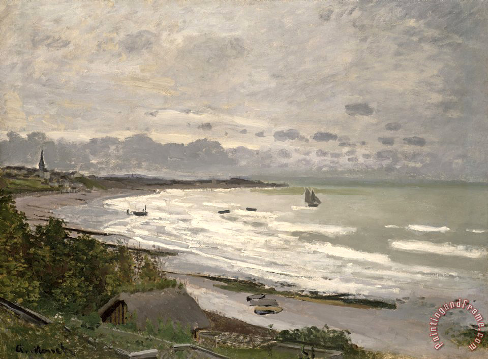 The Beach at Sainte Adresse painting - Claude Monet The Beach at Sainte Adresse Art Print