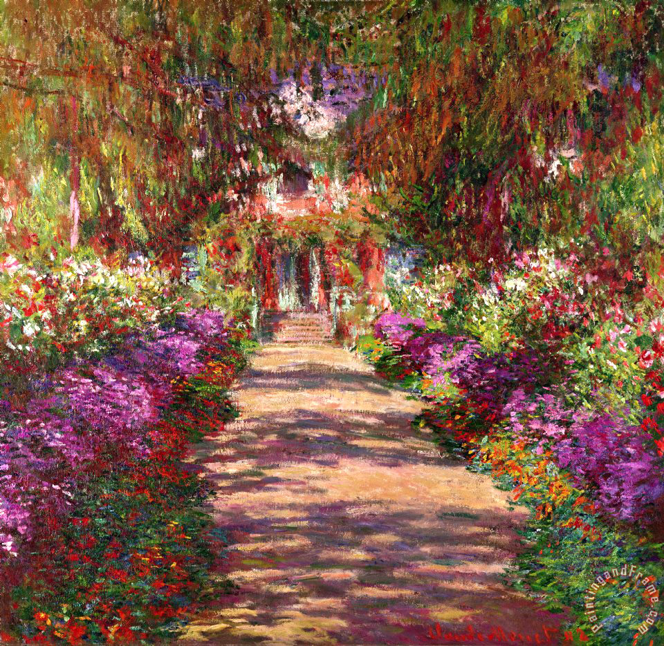 Claude Monet A Pathway in Monets Garden Giverny Art Painting