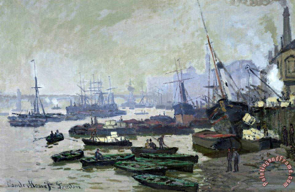 Boats in the Pool of London painting - Claude Monet Boats in the Pool of London Art Print