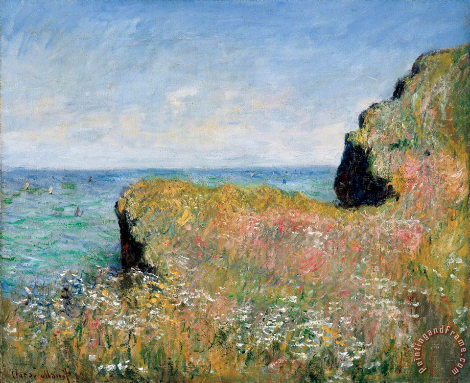 Claude Monet Edge of the Cliff Pourville Art Painting