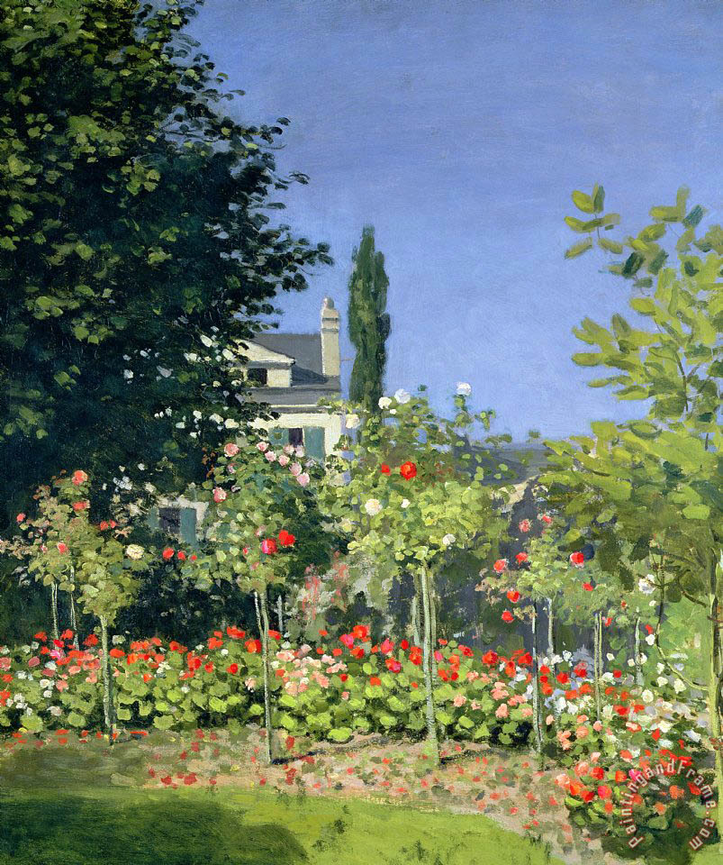 Claude monet flowering garden at sainte adresse painting for Jardines monet