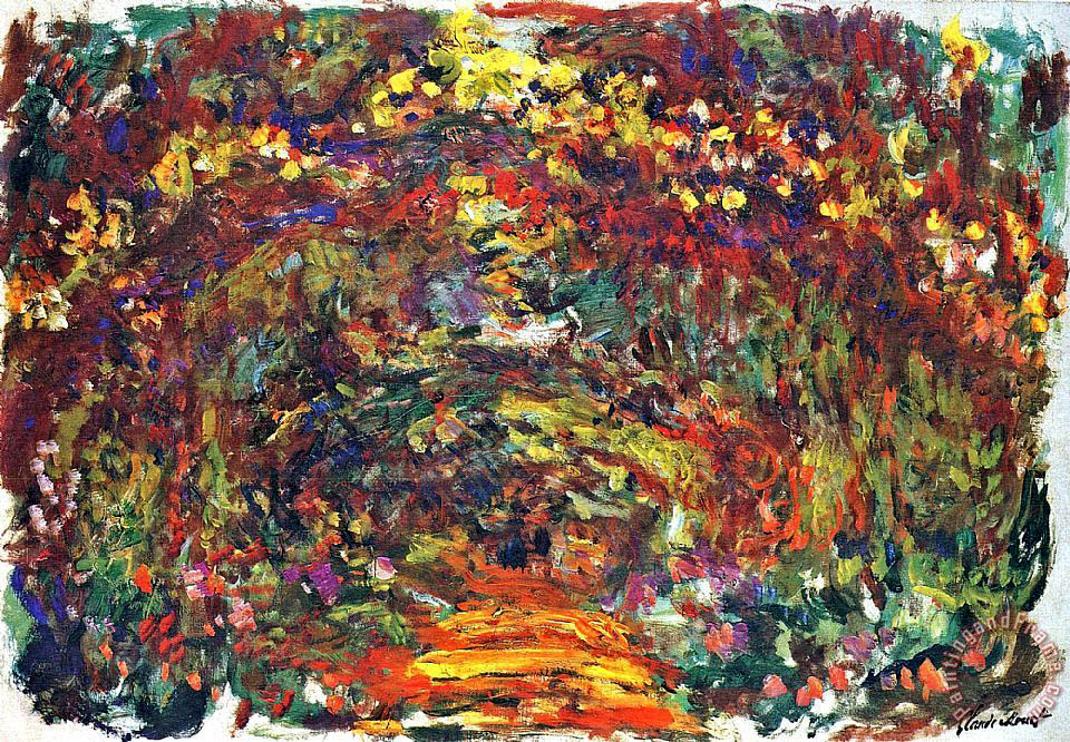 claude monet path under the rose trellises giverny painting path under the rose trellises. Black Bedroom Furniture Sets. Home Design Ideas