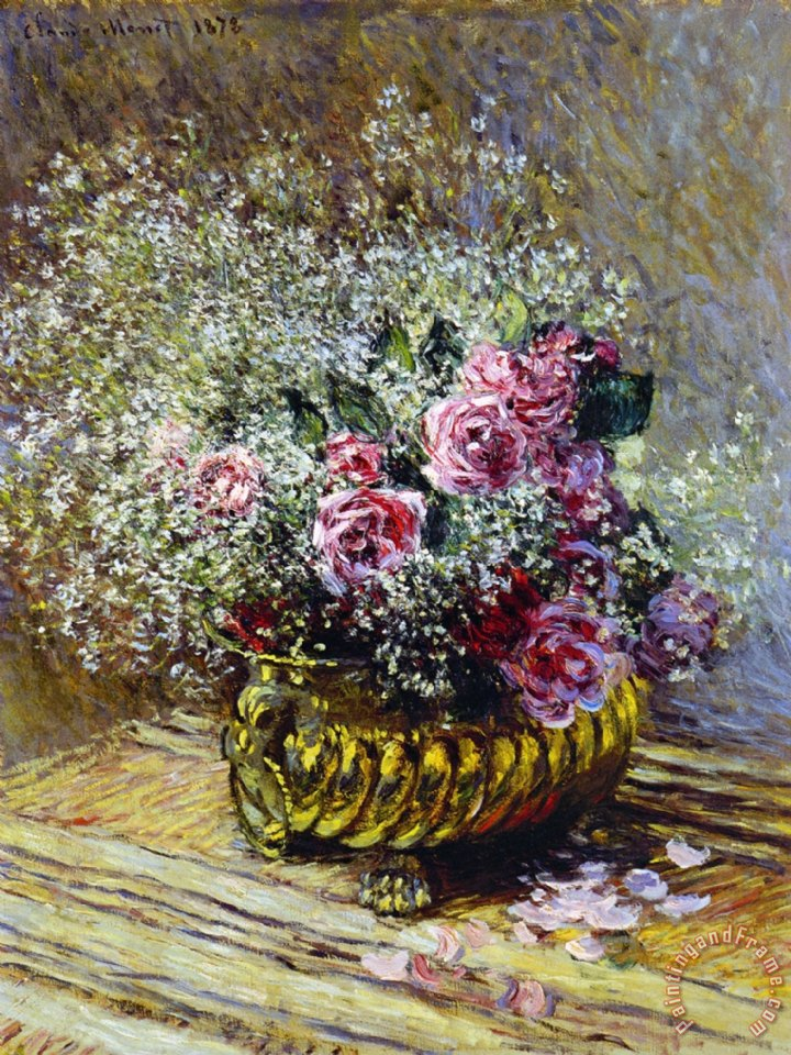 claude monet roses in a copper vase painting roses in a. Black Bedroom Furniture Sets. Home Design Ideas