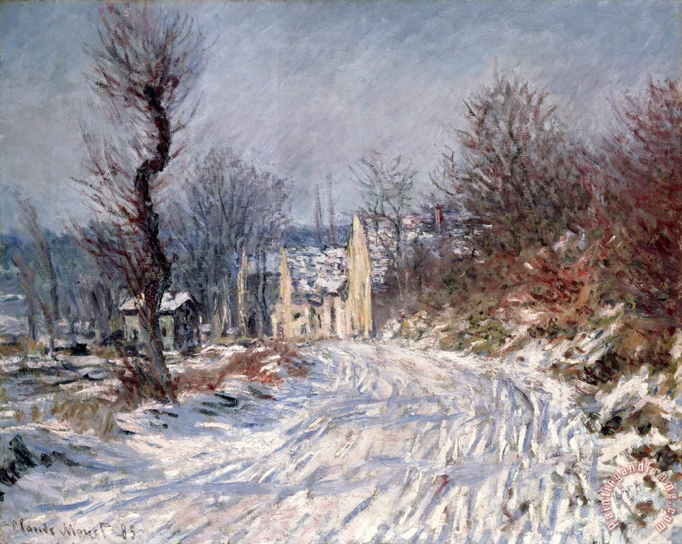 The Road to Giverny in Winter painting - Claude Monet The Road to Giverny in Winter Art Print