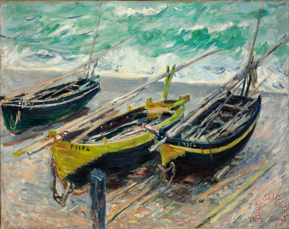 Claude monet three fishing boats painting three fishing for Fishing boat painting