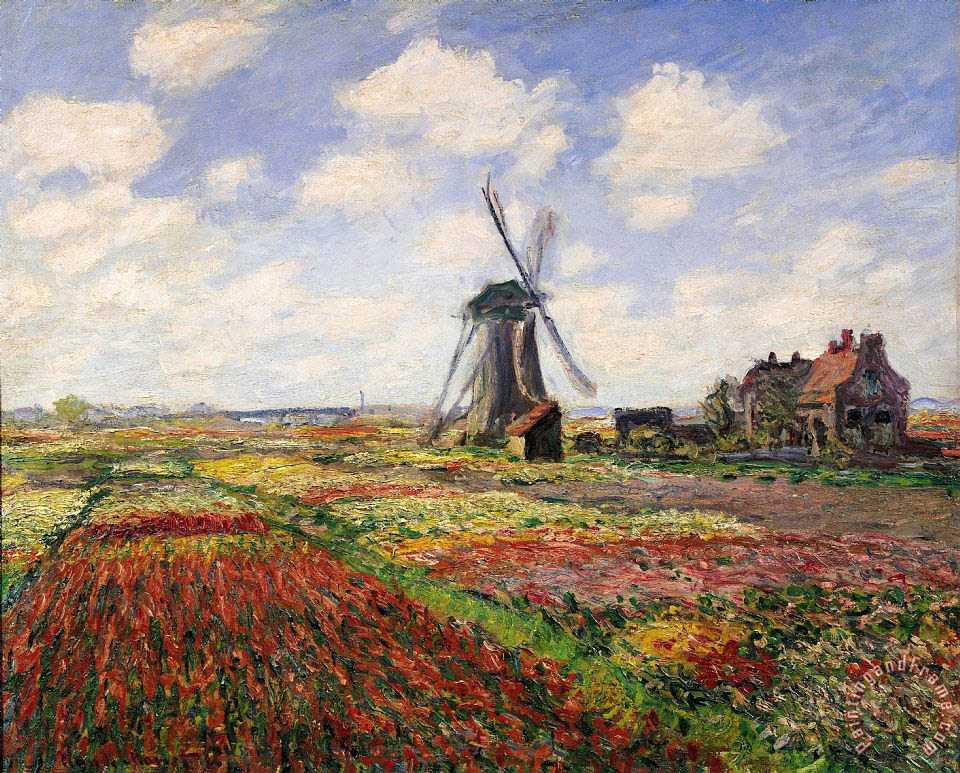Claude Monet Tulip Fields with the Rijnsburg Windmill Art Print