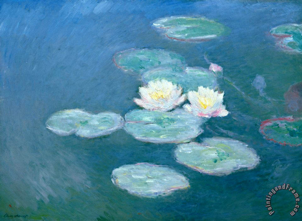Claude Monet Waterlilies Evening Art Print