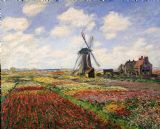 Tulip Fields with the Rijnsburg Windmill by Claude Monet